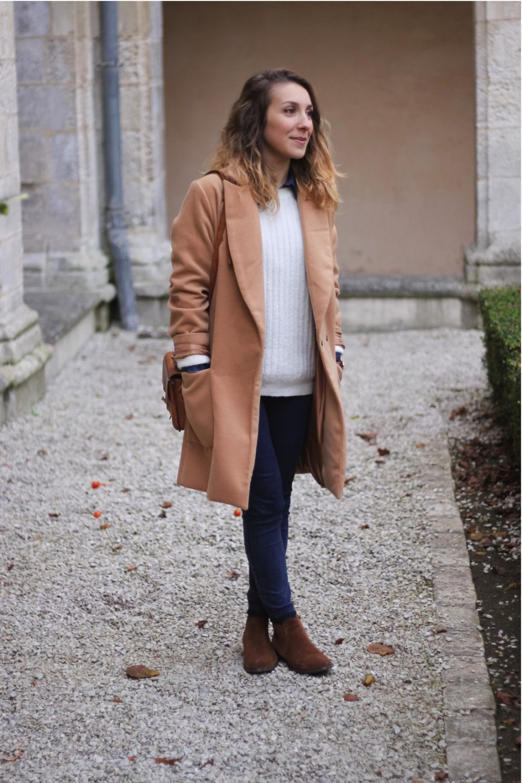 Manteau long beige sheinside chemise jean 11