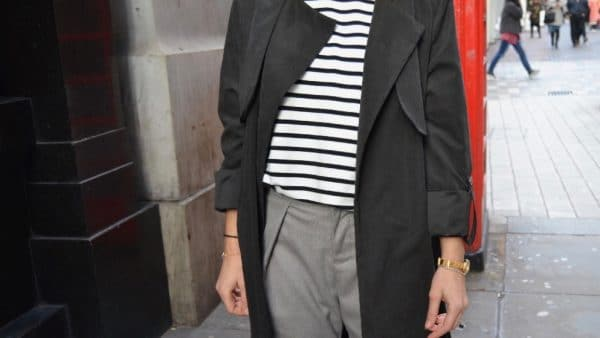 mariniere carrot pants gris trench long noir