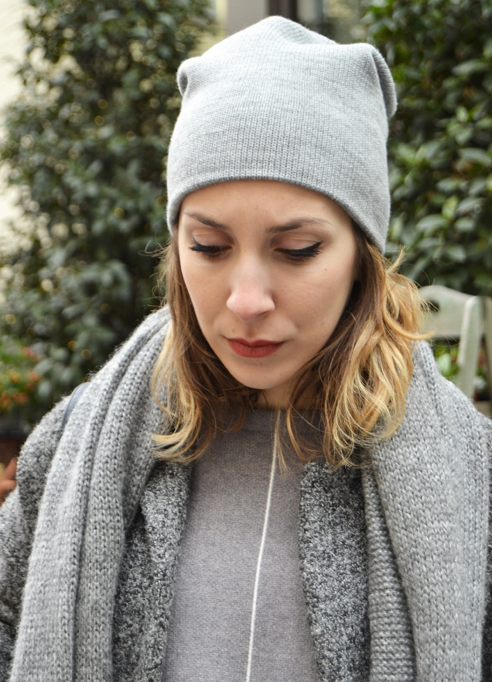 bonnet gris pull gris sheinside 4