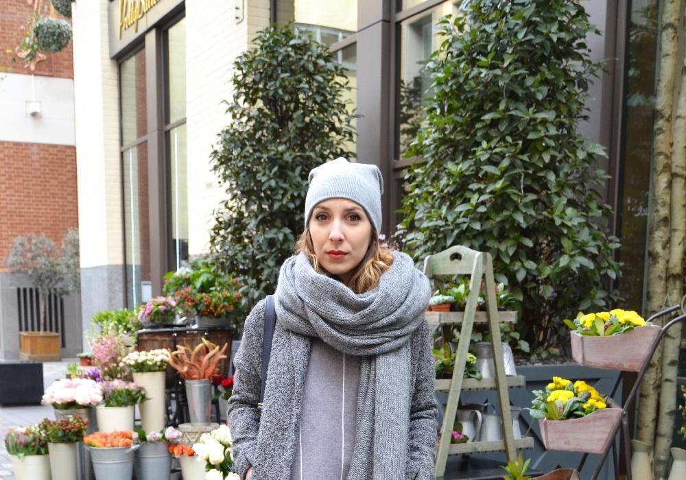 bonnet gris pull gris sheinside 7