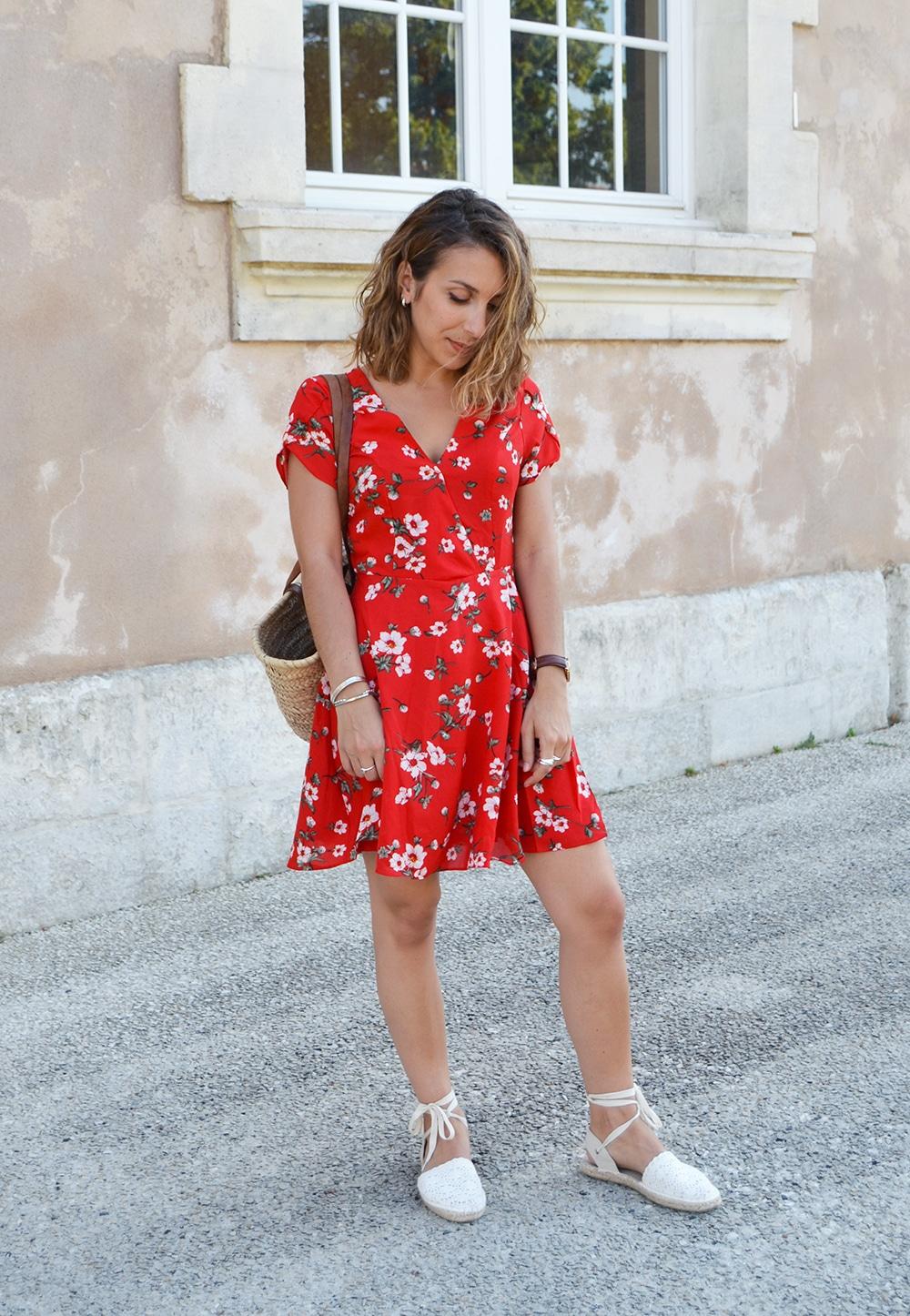 robe croisée shein rouge fleurs