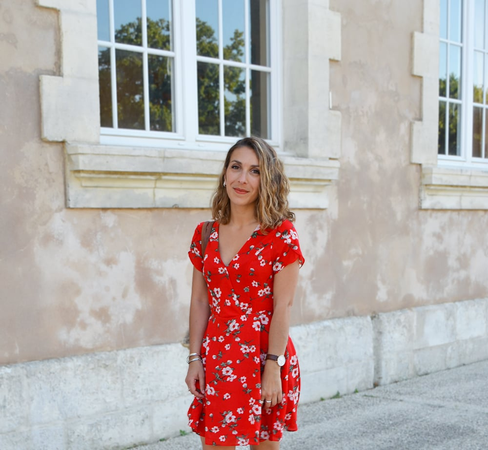 robe rouge shein cache coeur imprimé fleurs