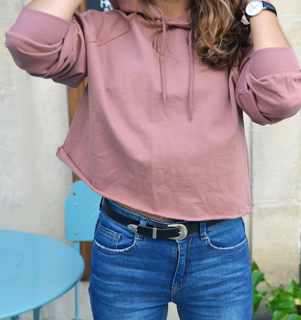 sweat crop nakd rose jean taille haute