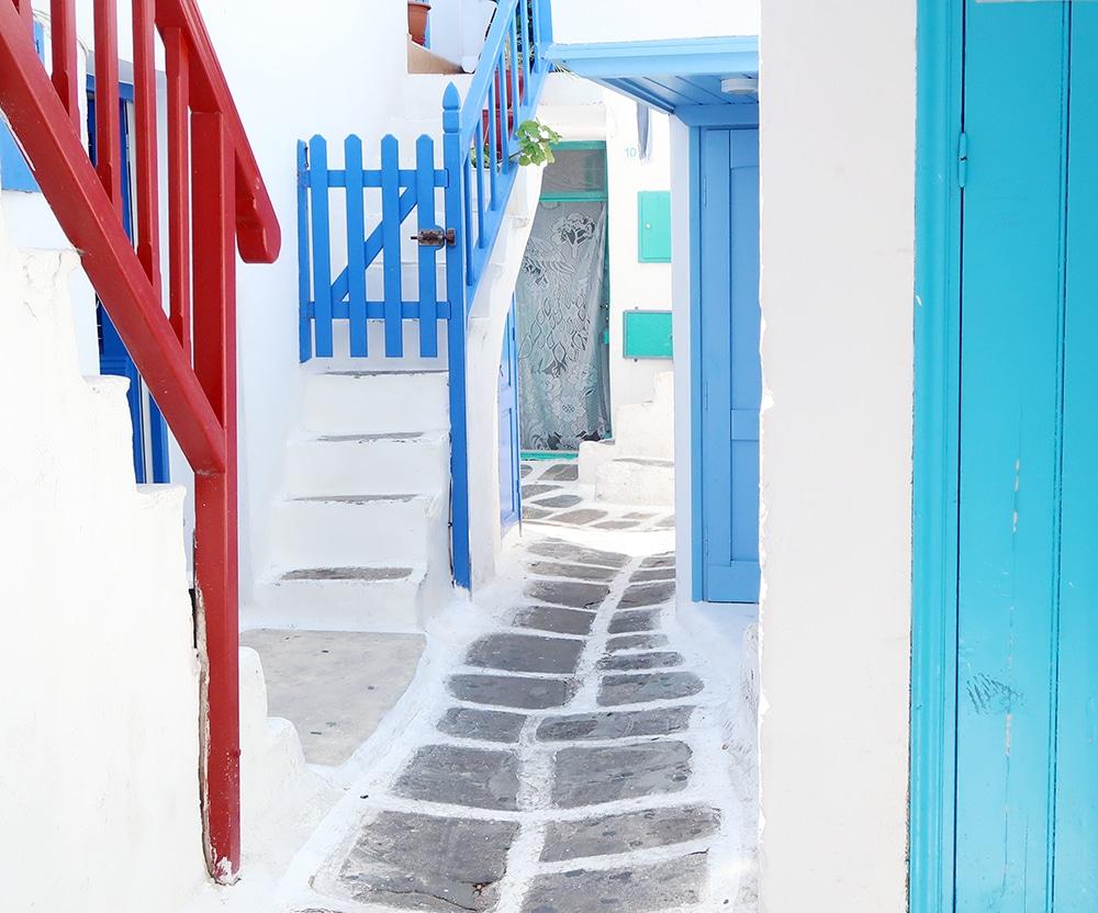 mykonos rues couleurs grece