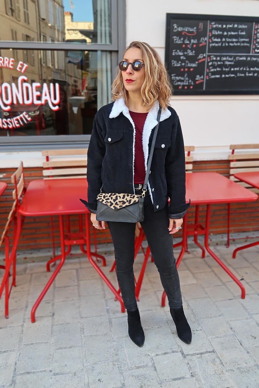 veste denim noir shein col fausse fourrure sac leopard