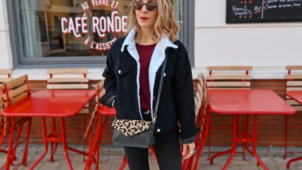 veste denim velours noir shein col fausse fourrure sac leopard