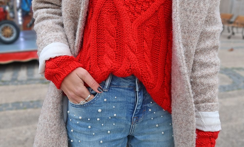 pull rouge maille cache cache jean perles