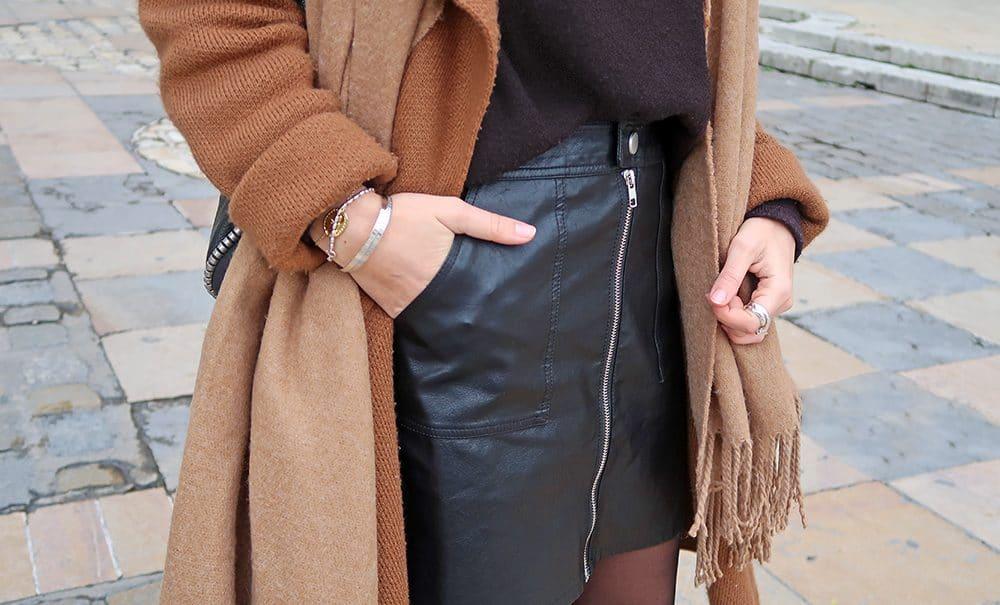 jupe simili cuir shein fermeture éclair manteau marron