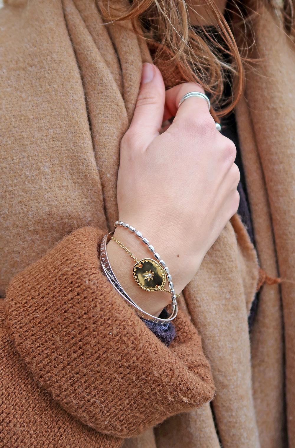 bracelet cosmique étoile or agatha