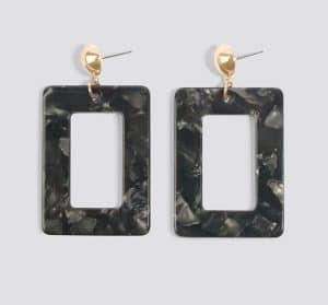 boucle d'oreille na-kd carré ecaille noir