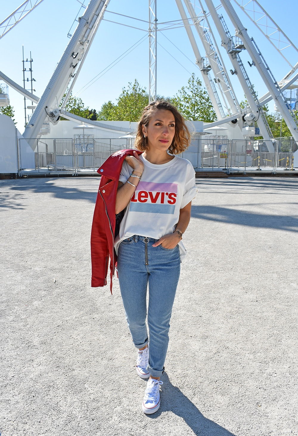 jean the kooples perfecto rouge tshirt levis galeries lafayette