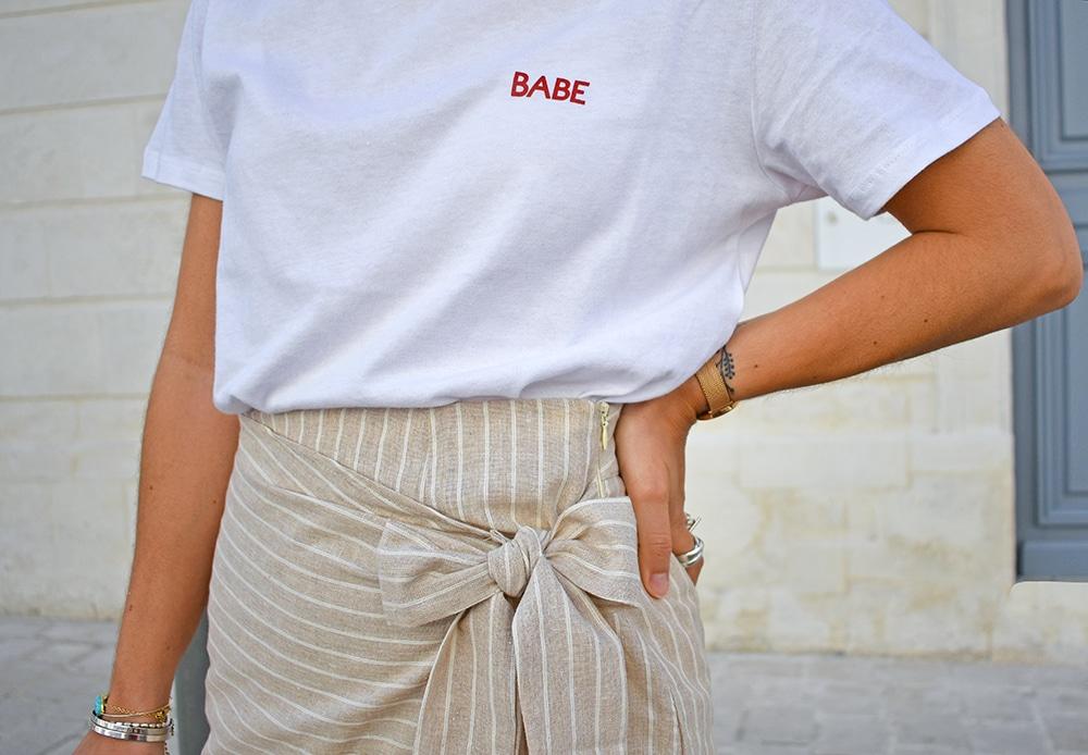 jupe portefeuille lin beige Shein tshirt blanc NAKD
