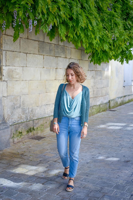 top drapé vert NAKD mum jean bleached sac rond beige la petite fleche
