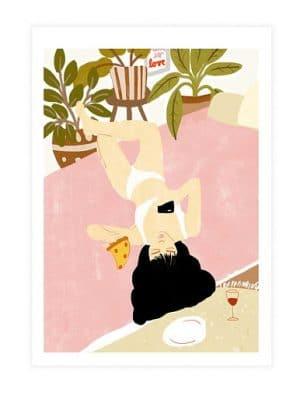 affiche art peinture femme pizza