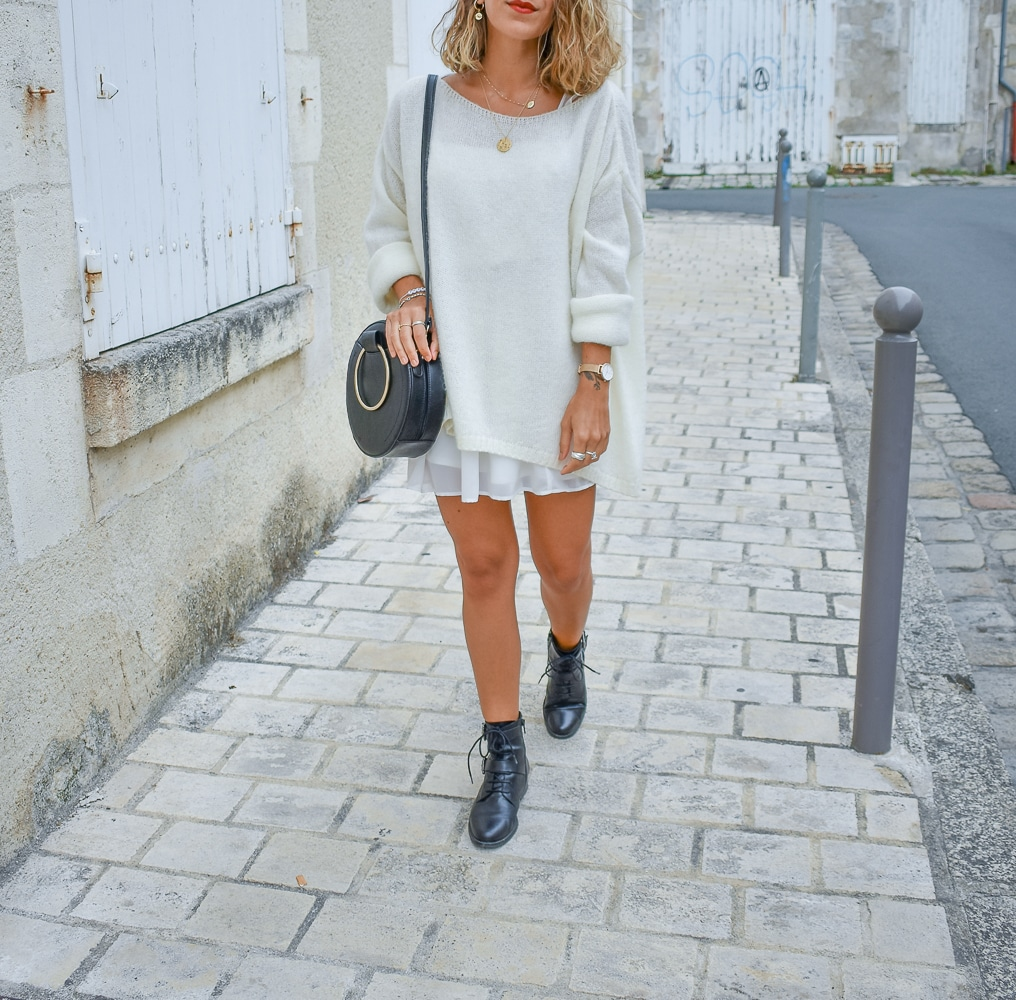 layering total look blanc pull robe