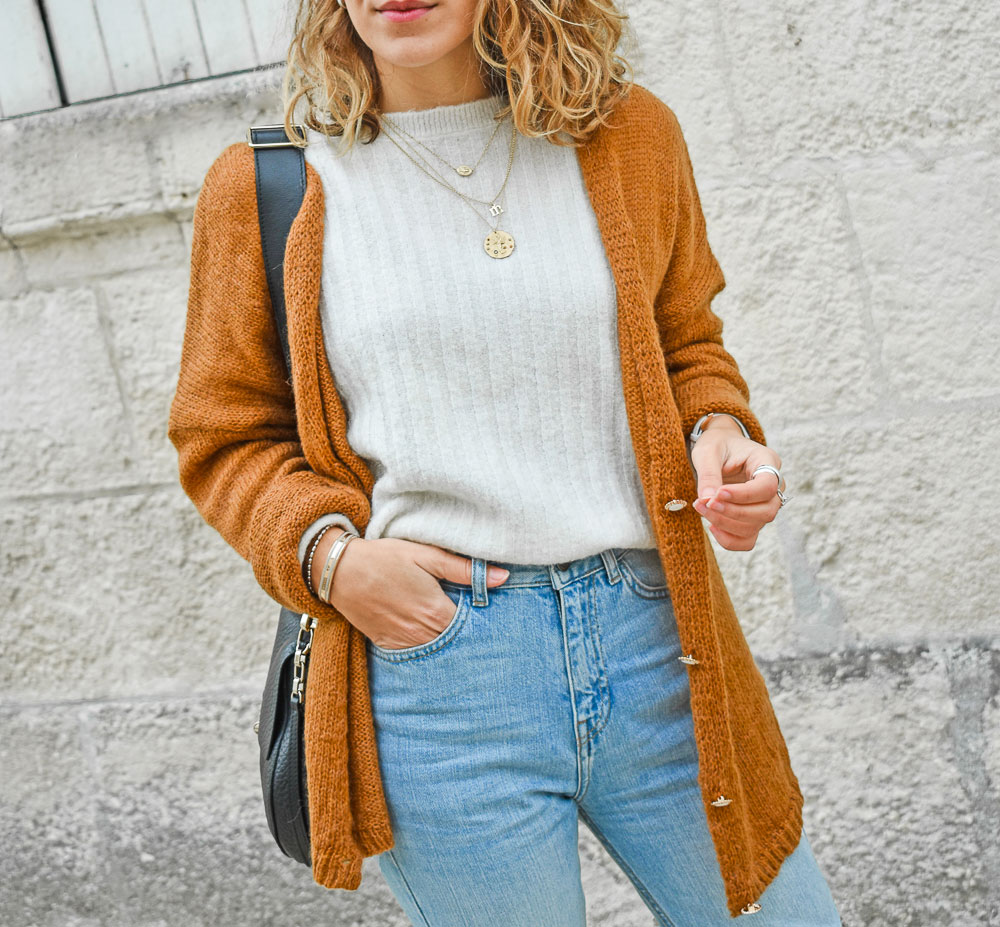 gilet moutarde beaux rivages mum jeans