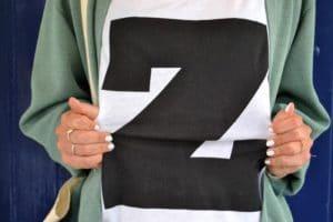 tshirt lettre Z tote bag message