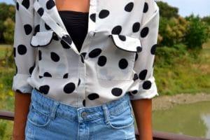 short denim vintage chemise pois