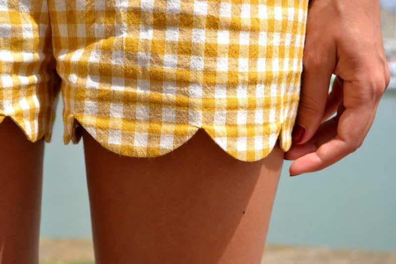 short feston vichy carreaux jaune