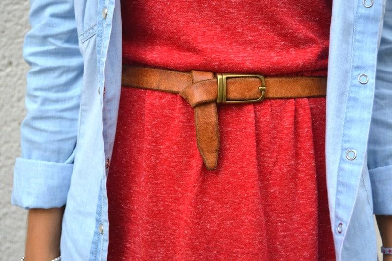 robe rouge jennifer chemise en jean
