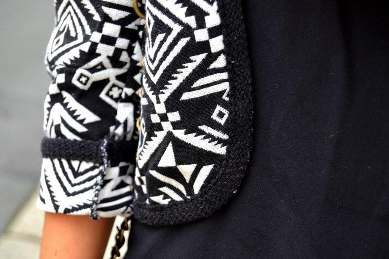 veste graphique noir blanc