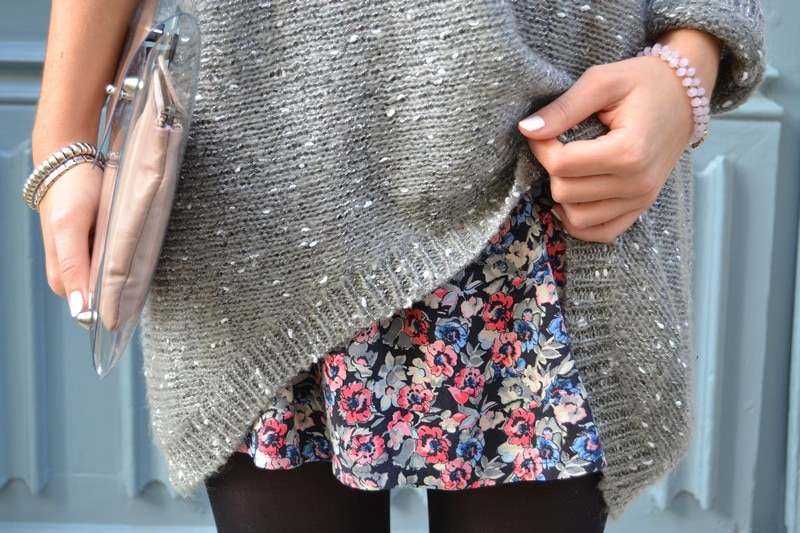 pull gris large jupe liberty fleurs