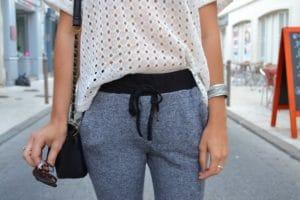 jogging pantalon gris sweat