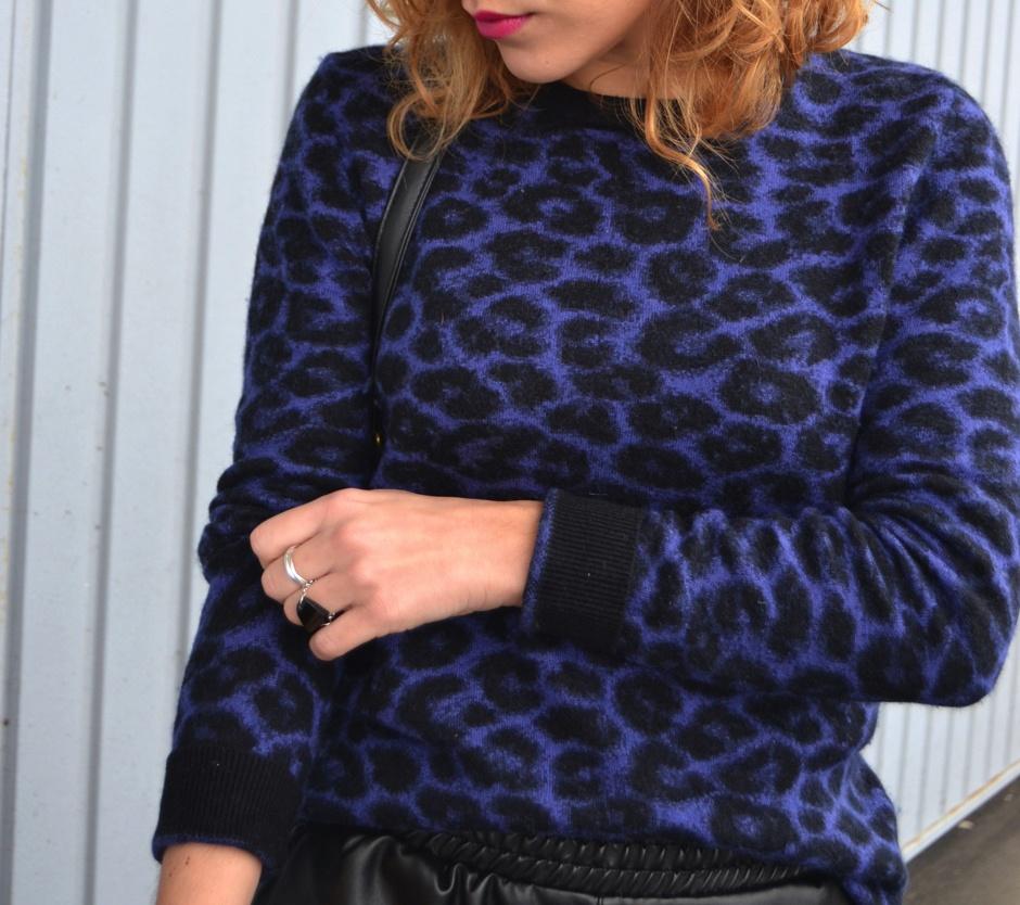 short en cuir sheinside pull léopard KMJ I