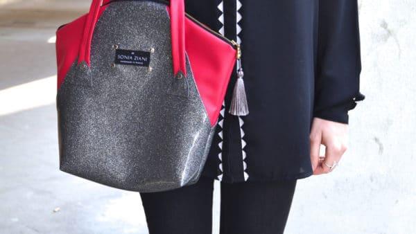 chemise noir sac rose sonia ziani