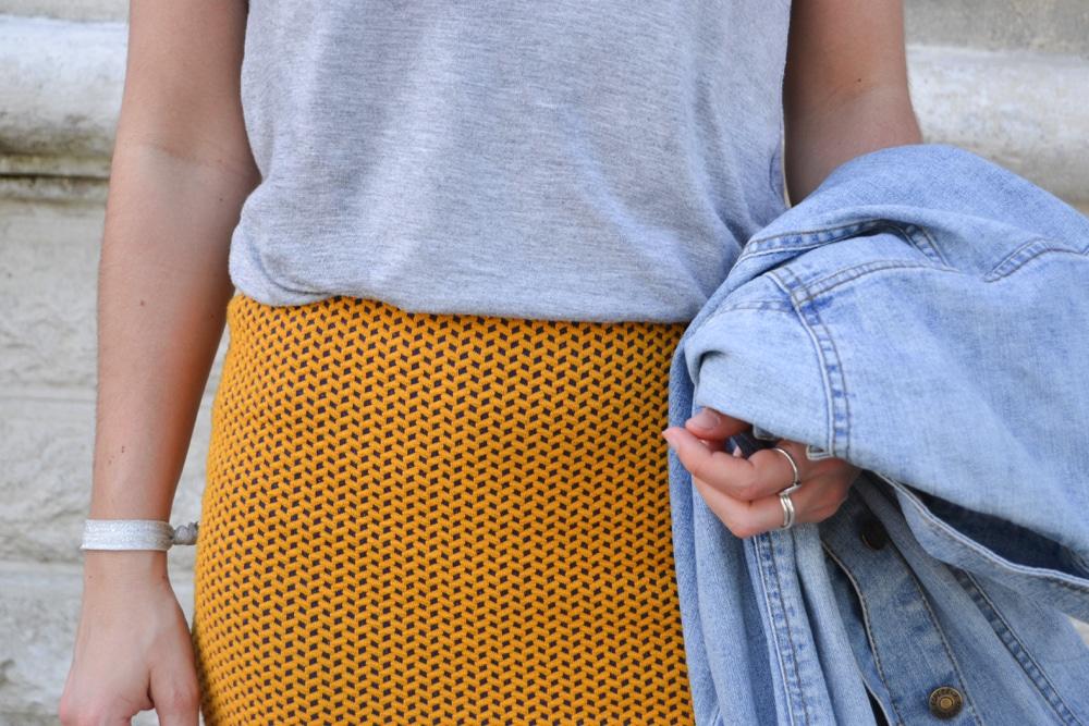 jupe crayon wax veste en jean