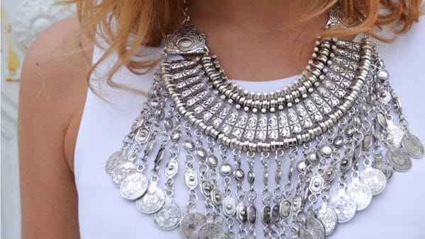 collier plastron boho argent happiness boutique