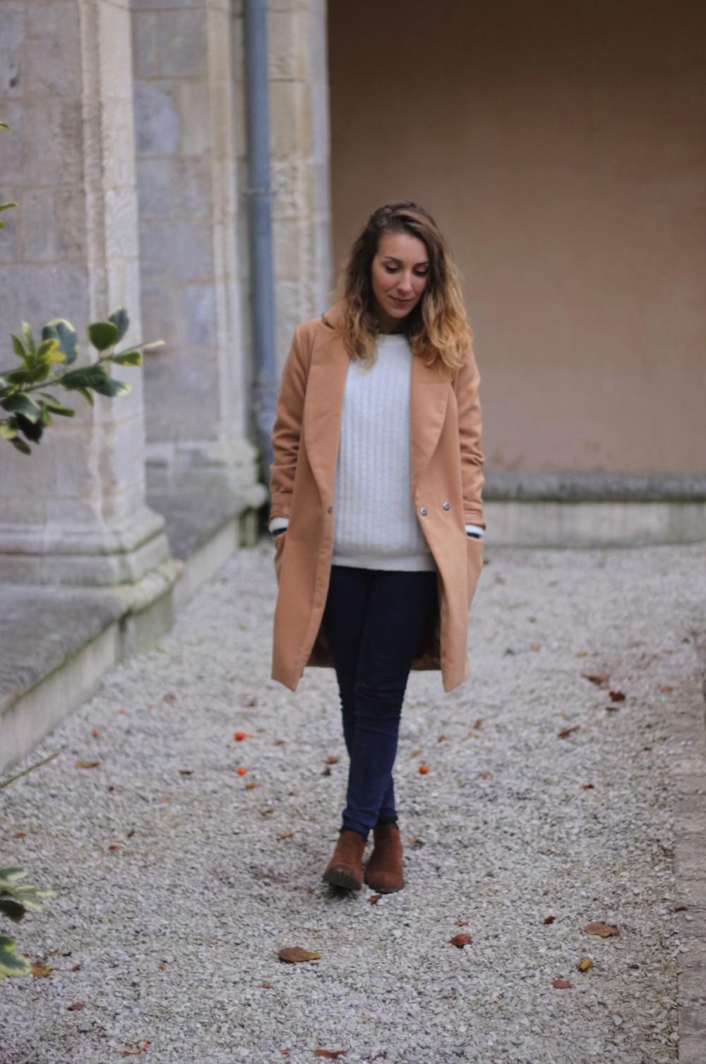 Manteau long beige sheinside chemise jean 3