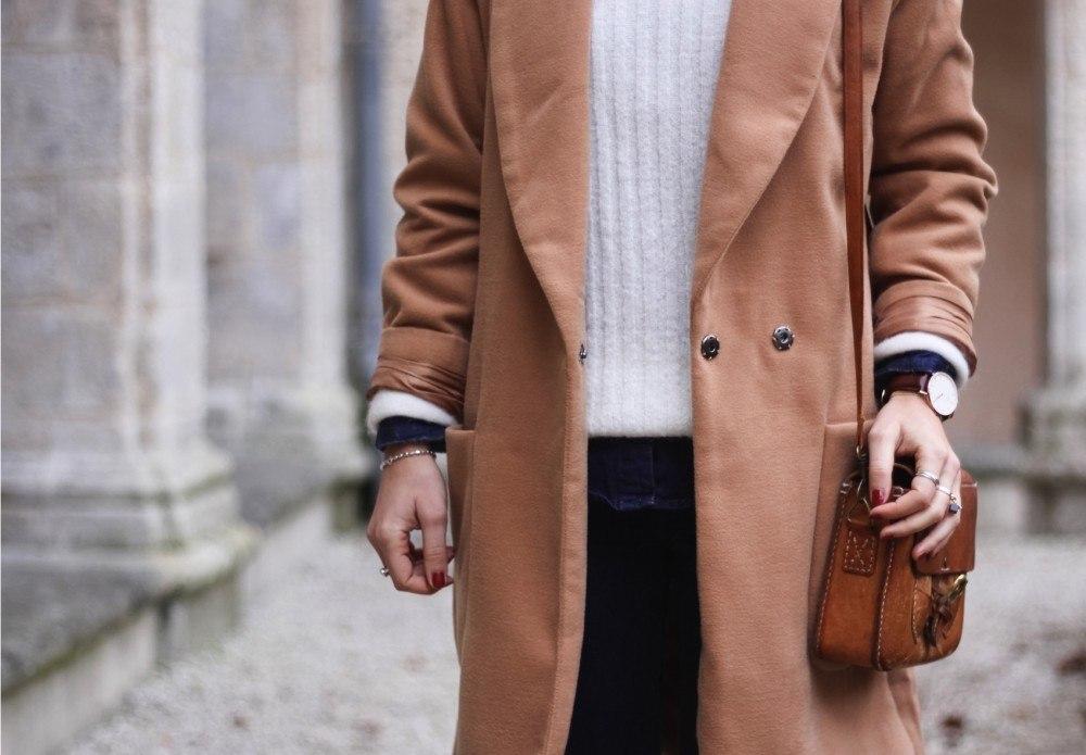 Manteau long beige sheinside chemise jean 6