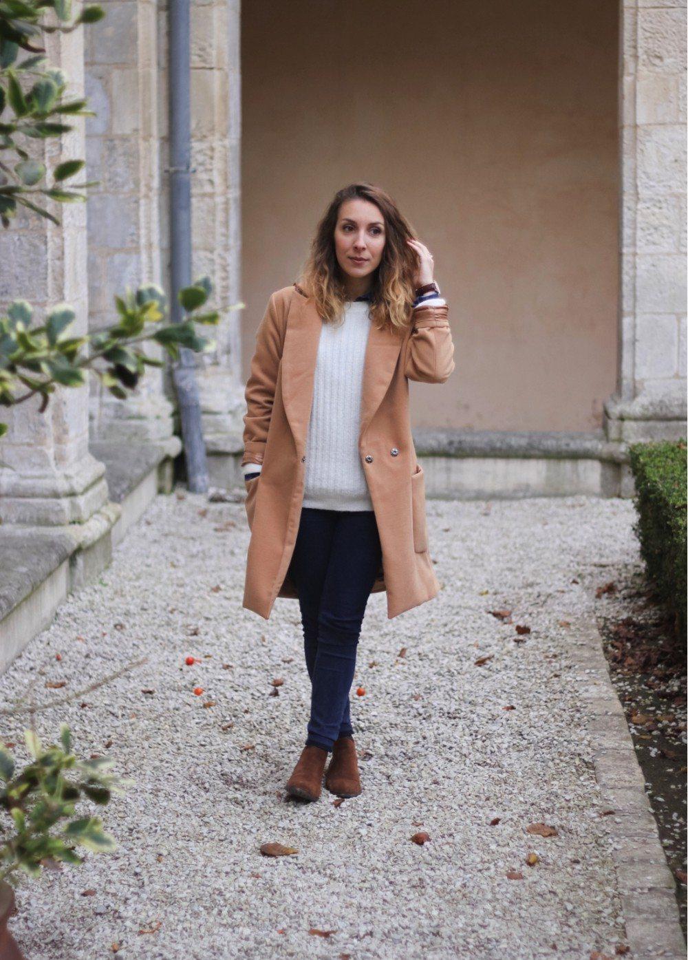 Manteau long beige sheinside chemise jean 7