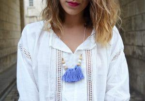 robe blanche boheme sheinside casual