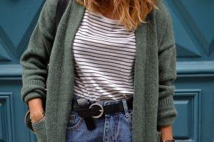 short jean marinière gilet long vert shein