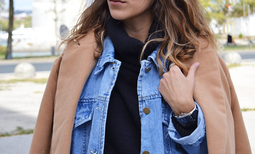 veste jean denim manteau long camel