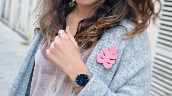 broche monstera tendre cactus la rochelle top velours rose montre daniel wellington