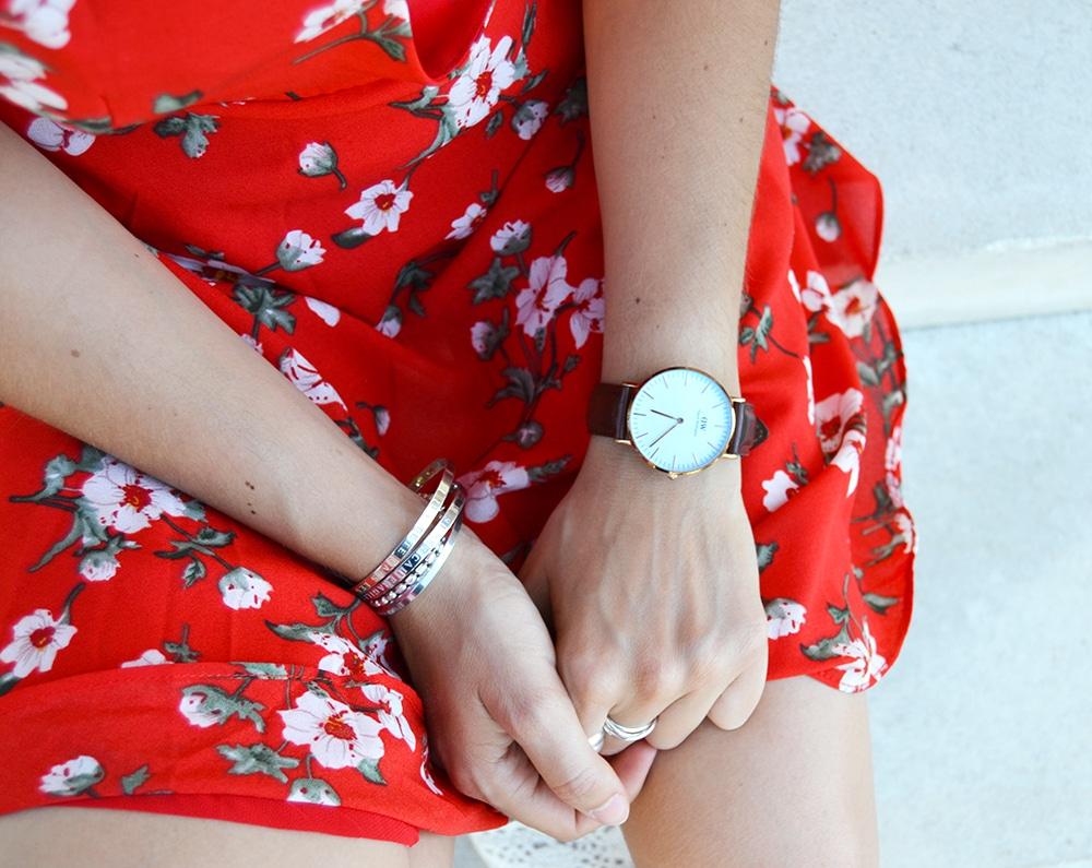 robe rouge cache coeur fleurs shein
