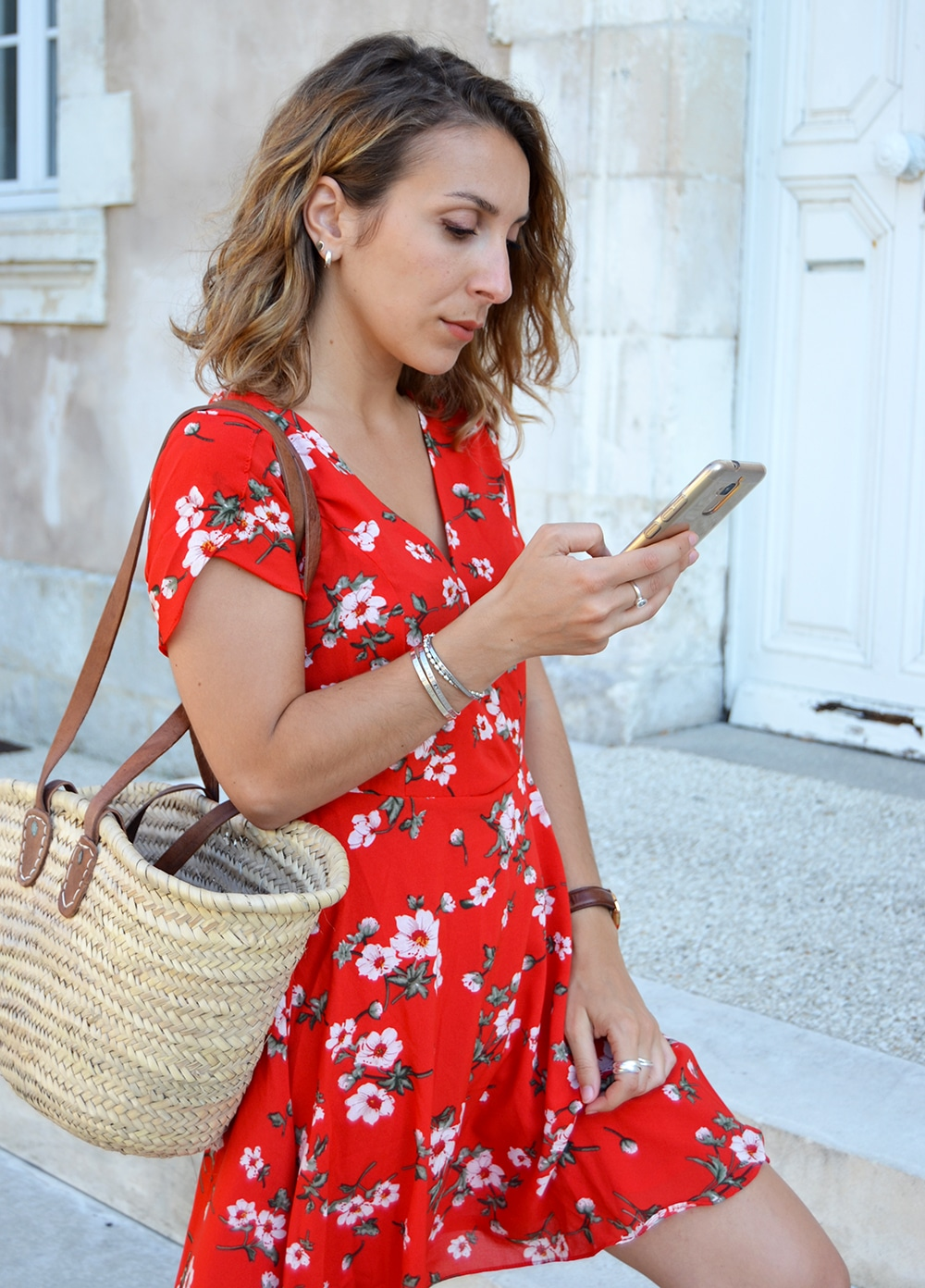 wrap red dress flower print shein