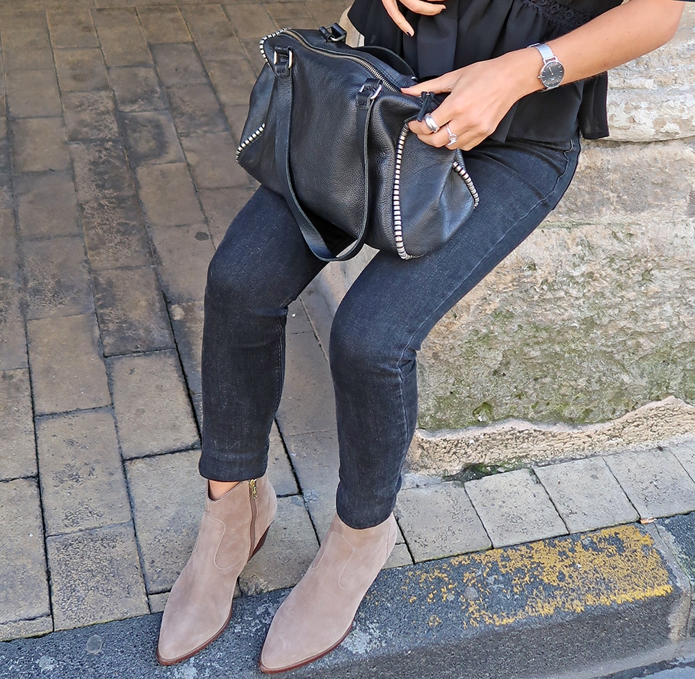 boots ash camel cas cuir noir