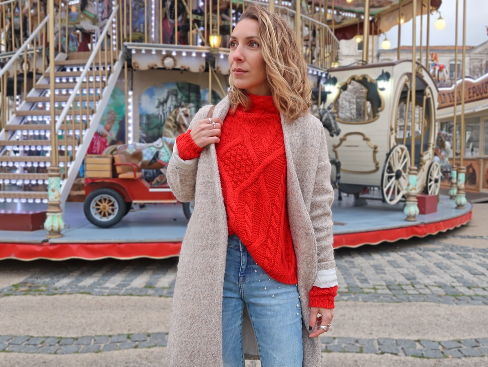 pull rouge cache cache jean perles