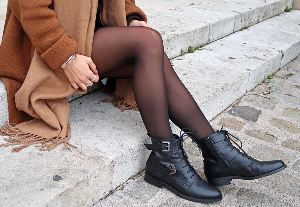 jupe simili cuir shein fermeture éclair manteau marron boots rock