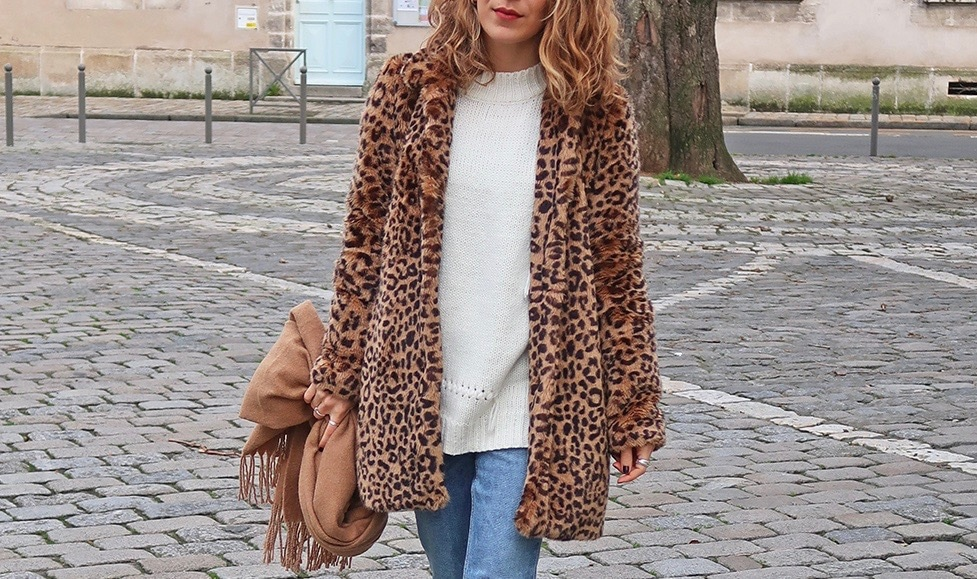 manteau leopard fluffy echarpe marorn