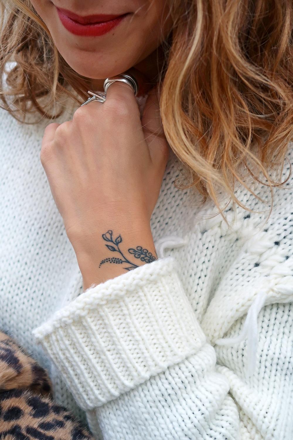tatouage fleurs botanique mum jeans cheap monday manteau leopard zara