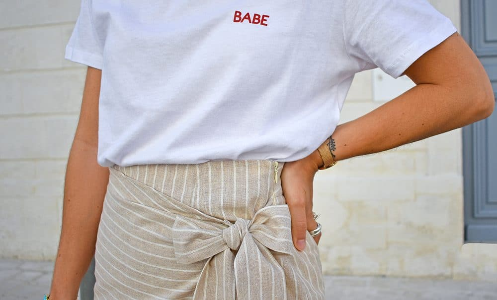 tshirt blanc NAKD jupe lin beige noeud