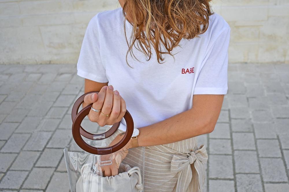 jupe portefeuille lin beige Shein tshirt blanc NAKD sac sceau transparent