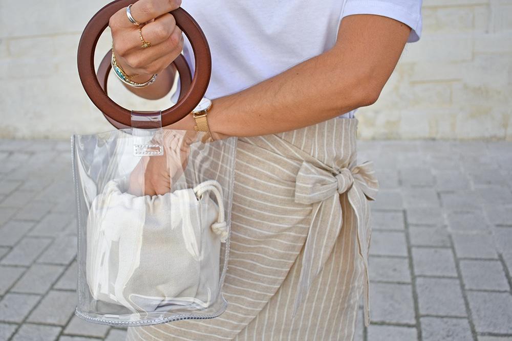 jupe lin beige sac sceau transparent anses bois