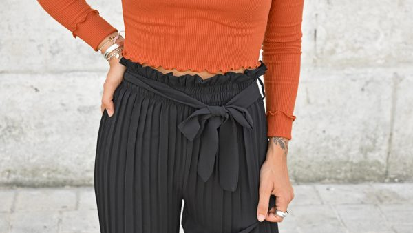 pantalon palazzo top pretty little thing rouille