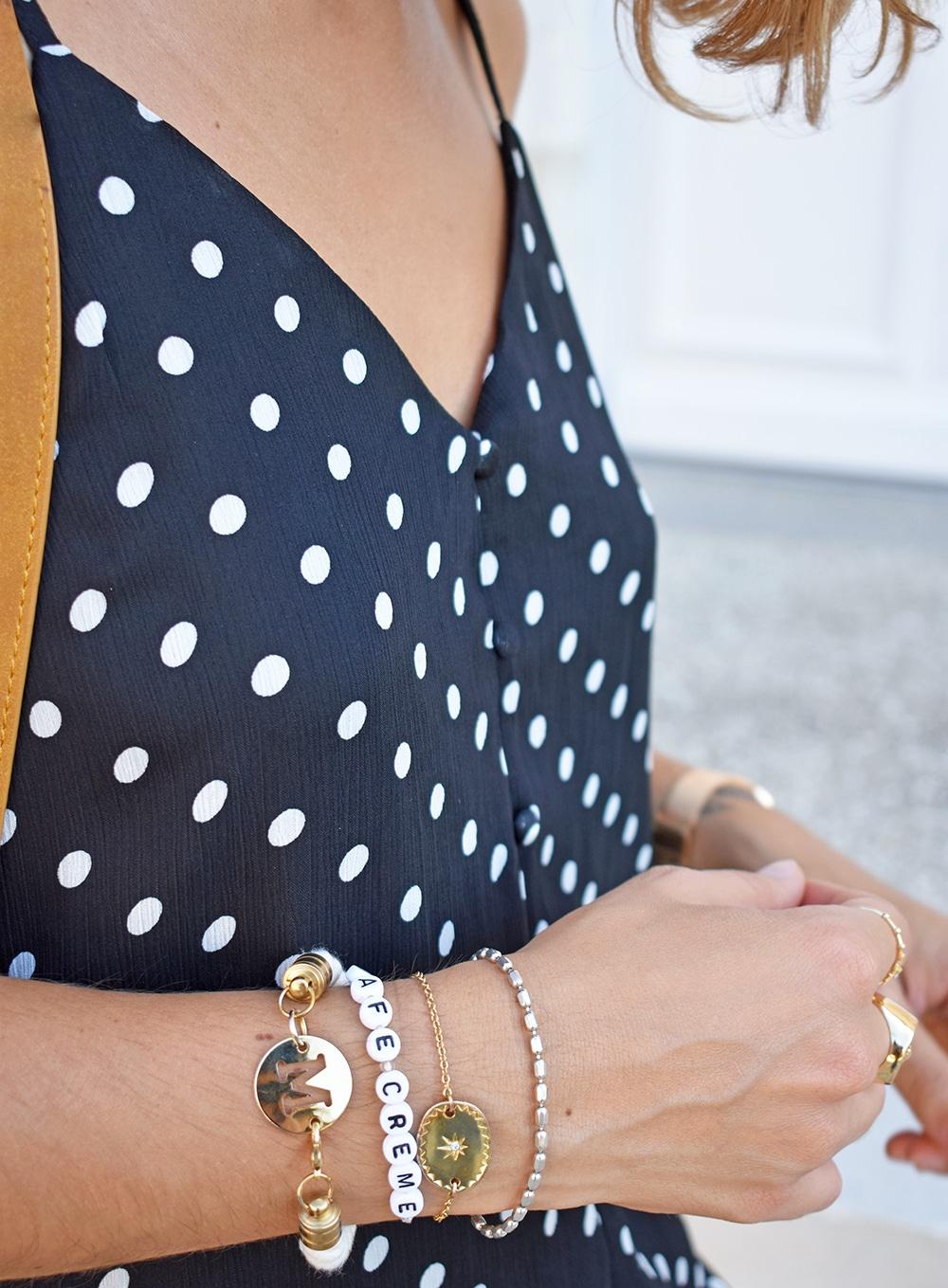 combinaison pois polkadots la petite fleche accumulation bijoux initiales or
